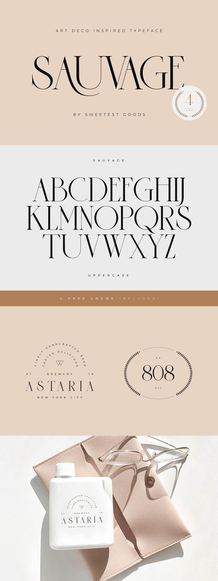 Sauvage Elegant Font + Free Logos in 2020 Elegant