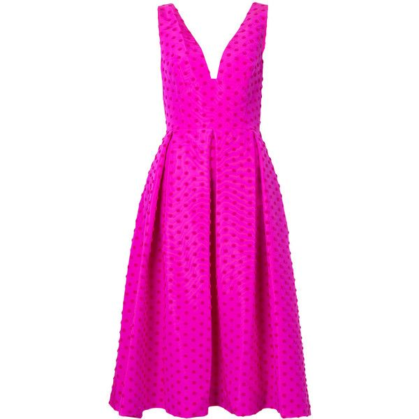 Lela Rose polka dot dress ($2,745) ❤ liked on Polyvore featuring dresses, fuchsia pink dress, spotted dress, pink silk dress, lela rose dresses and fuschia pink dress
