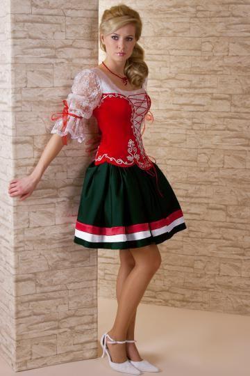 227-92  magyaros menyecske ruha zöld szoknyával2012