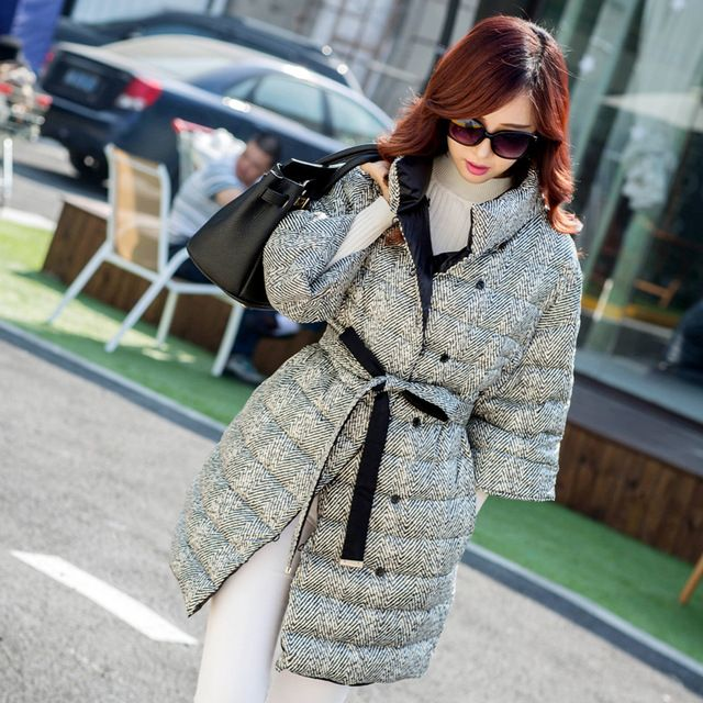 2015 new fashion lady's half-self in the long section of stand collar belt buckle down jacket plaid button warm outwear US $100.00 To Buy Or See Another Product Click On This Link  http://goo.gl/yekAoR