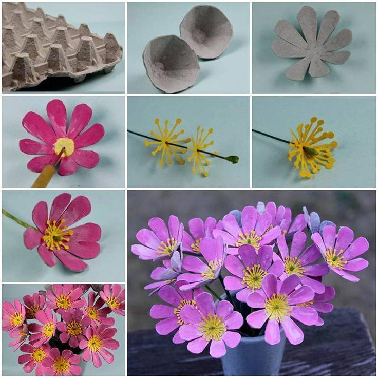 con las cubetas de huevos se pueden hacer hermosas flores