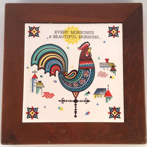 Vintage Colorful Rooster Tile - Wood Framed Trivet - Midcentury Berggren Kitchen Decor Collectible - Farm Bird Barns Weather Vane Red Blue ∞