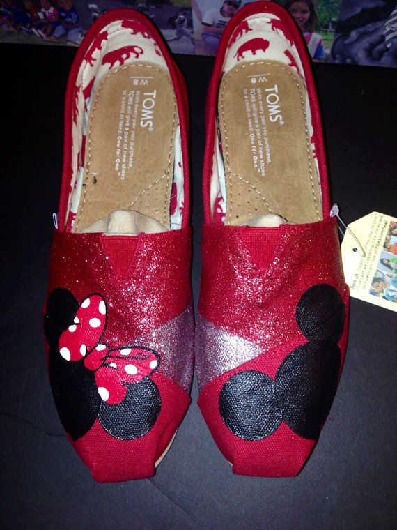 Disney Toms  Red/Silver Glitter by JudyMoodyDesigns on Etsy, $92.00