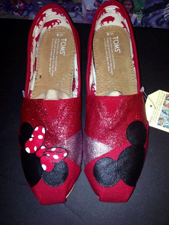 Disney Toms  Red/Silver Glitter by JudyMoodyDesigns on Etsy, $92.00
