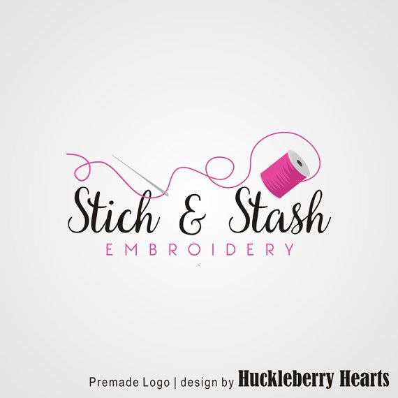 Premade Logo Sewing Logo Embroidery Logo by HuckleberryHearts