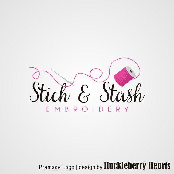 Premade Logo Sewing Logo Embroidery Logo от HuckleberryHearts