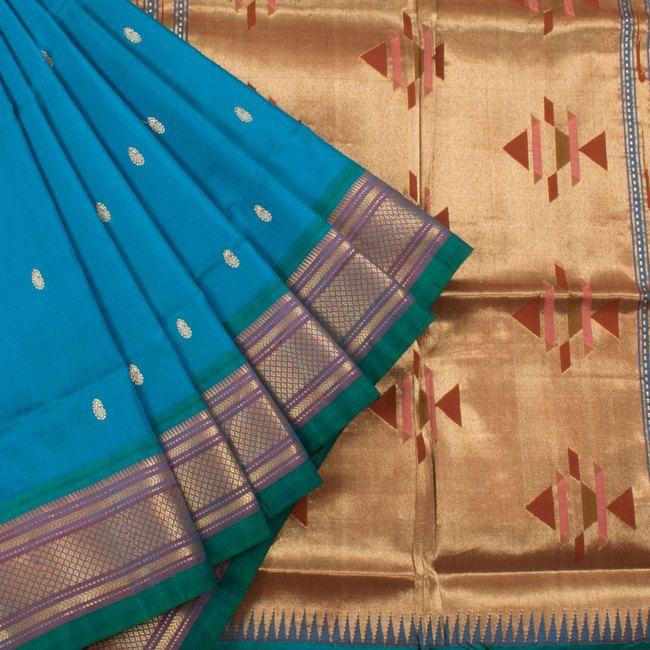 Ghanshyam Sarode Bondi Blue Paithani Silk Handwoven Saree 10003448 - AVISHYA