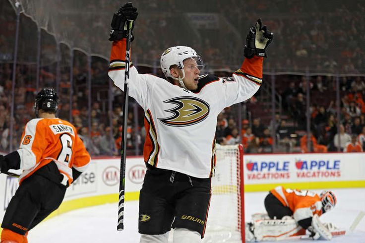 Ondrej Kase #25 of the Anaheim Ducks celebrates after scoring a goal against the Philadelphia Flyers during the first period at Wells Fargo Center on October 24, 2017