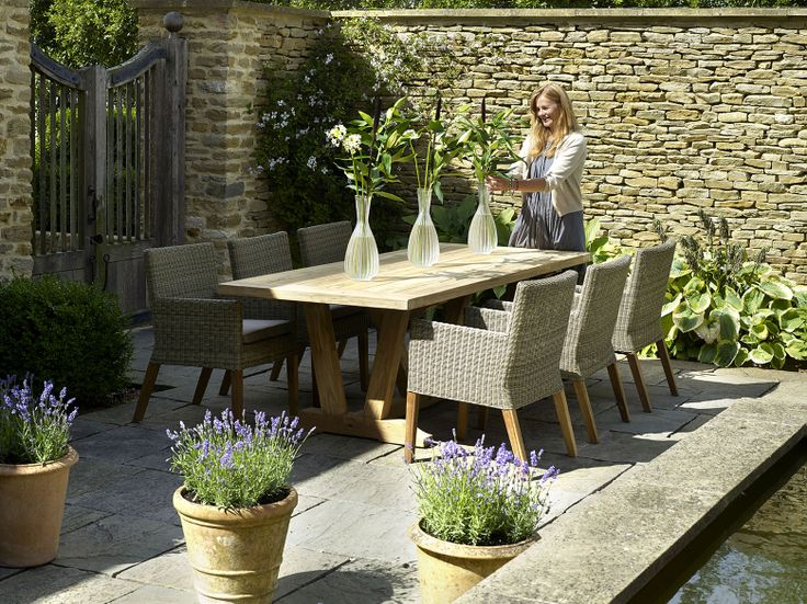 Kuta Rectangle 240cm Rectangle Table Set with 8 Sahara Teak Leg Armchairs http://www.bramblecrest.com/product/XTKU240RT004