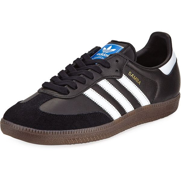 Adidas Samba Classic Leather Sneaker (1.750 ARS) ❤ liked on Polyvore featuring shoes, sneakers, black, adidas trainers, black flats, leather lace up flats, black round toe flats and black shoes