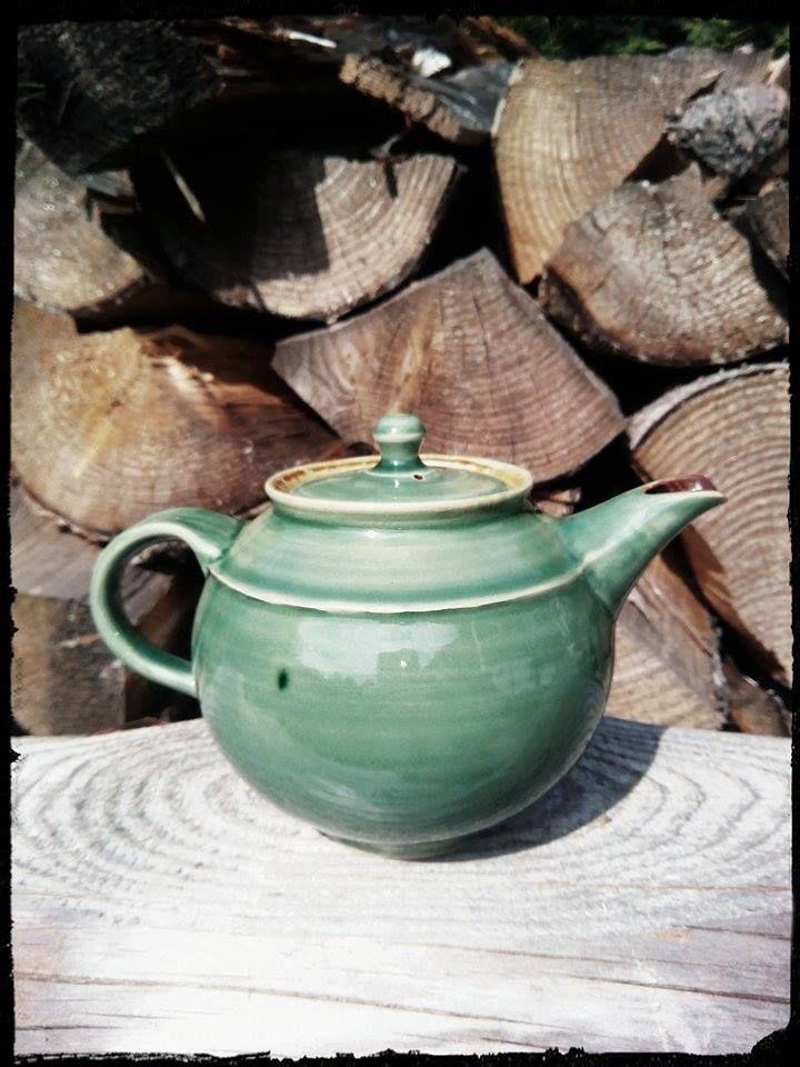 handmade celadon teapot, stoneware, Amaco Jade Celadon, clay Pavek Polar, 7 dcl, 1250 st.Cels... 23. 8. 2014