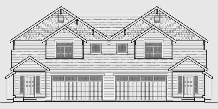 House Front Color Elevation View For D 551 Two Story