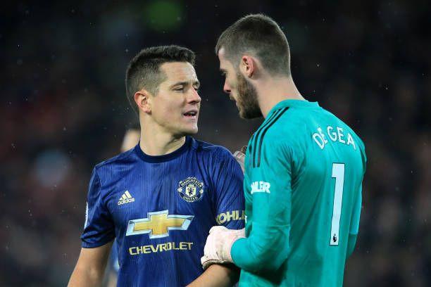 newest cb102 54a76 Ander Herrera of Man Utd speaks to Man Utd goalkeeper David ...