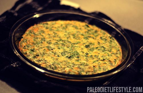 #paleo Spinach Quiche: 5 large eggs; 1½ cups fresh spinach, chopped;  ½ medium onion, chopped;  1 clove garlic, minced;  ½ cup coconut milk;  ½ tsp baking powder;  Sea salt and freshly ground black pepper to taste