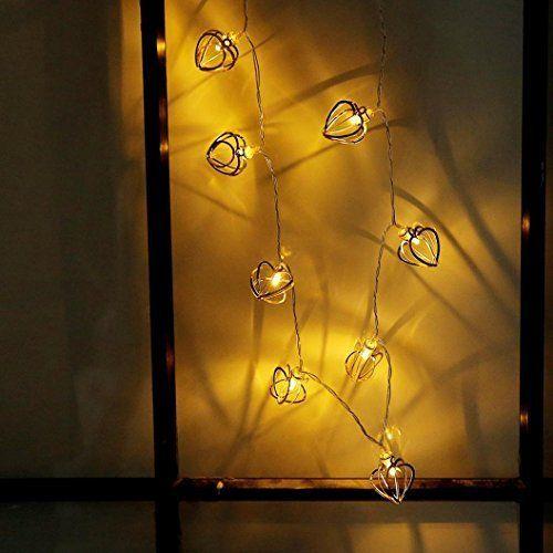 Sixcup Guirlande Lumineuse, 20 Cœur LED Lampe de Lampe Guirlande de fées Noël décorative pour extérieure, Jardin, Maison, Mariage, terrasse,Chambre,Intérieur (Or)