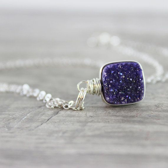 Violet Druzy Necklace Sterling Silver Necklace Druzy Quartz