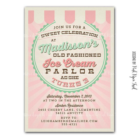 Vintage Ice Cream Parlor invitation - Ice Cream Party v.1- Customizable - Print your own