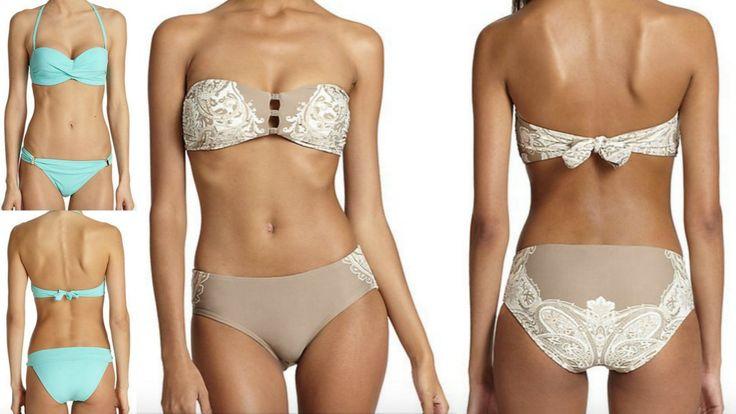 Elizabeth Hurley and Carmen Marc Valvo Bandeau Bikini on Sale now!