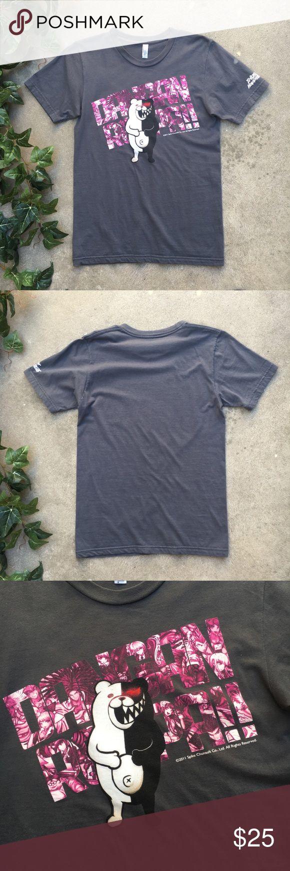 American Apparel Trigger Happy Havoc Dark gray tee shirt with Danganronpa: Trigger Happy Havoc logo on front American Apparel Tops Tees - Short Sleeve
