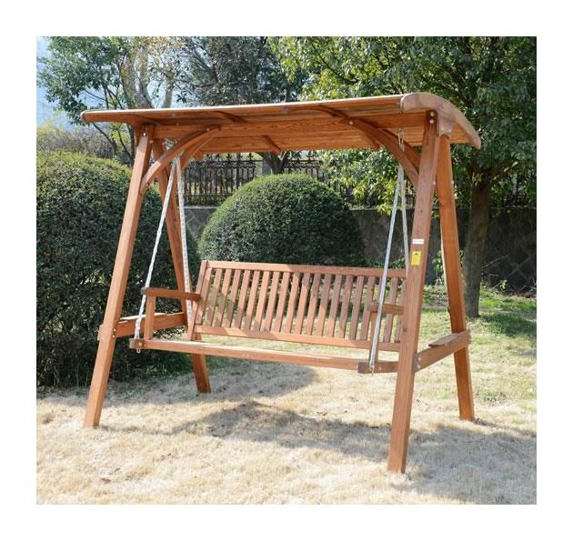 Outsunny 3 Seater Larch Wooden Garden Swing Chair Seat ...