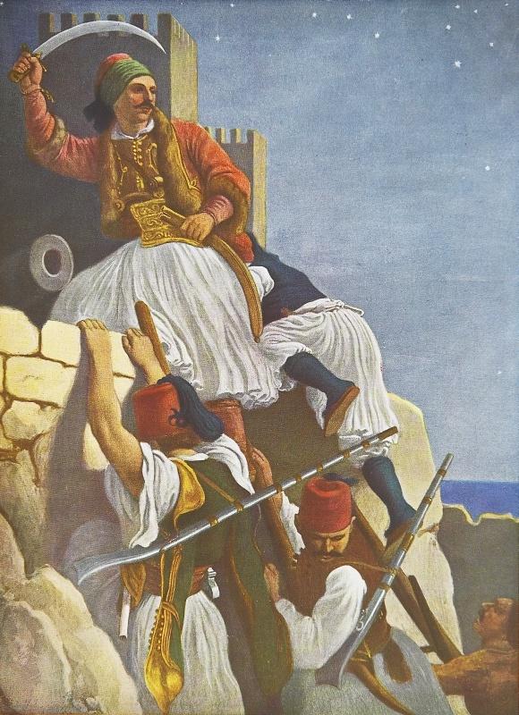 """Λεύκωμα : Το Ηρώον του Αγώνος - Η κατάληψις των Πατρών.Πρόκειται για ανατύπωση τετραχρωμίας του πίνακα του Von Hess με θέμα την κατάληψη των Πατρών"""".Ο γερμανός ζωγράφος Peter Von Hess φιλοτέχνησε κατά το διάστημα 1827-1834, 40 λιθογραφίες με θέματα από την Ελληνική Επανάσταση μετά από ανάθεση από τον φιλέλληνα βασιλιά της Βαυαρίας Λουδοβίκο, πατέρα του Όθωνα .Τα πρωτότυπα ευρίσκονται στην Πινακοθήκη του Μονάχου στη Γερμανία."""
