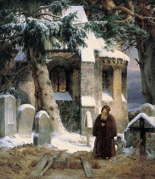 "Ernst Ferdinand Oehme ""Cimitero nella Neve"" 1833"