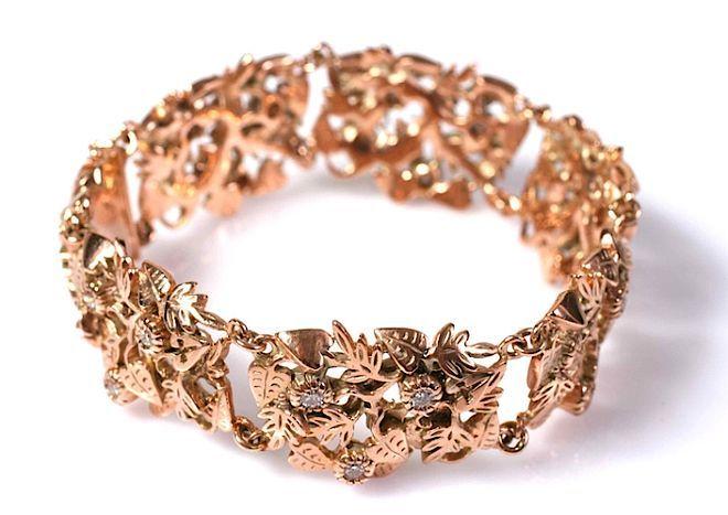 Bransoletka: różowe złoto i diamenty