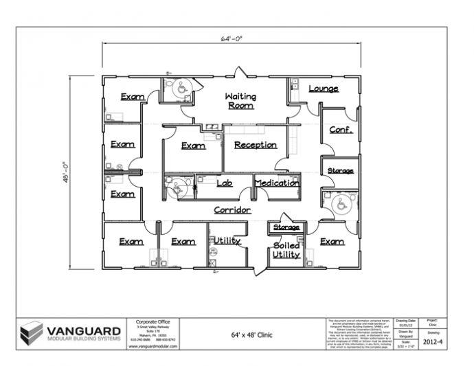 64 X 48 Clinic Building Floor Plan Permanent Modular