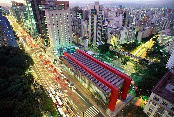 Avenida Paulista (MASP -Museu de Arte de São Paulo) vista aérea