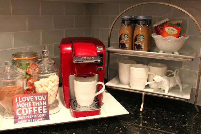 Festive coffee station bar for hosting holiday guests for Coffee bar station