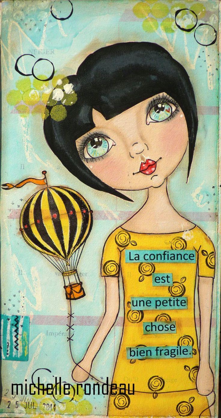 Wood And Fabric niedlich Mädchen Heißluftballon Zeichnung Illustration niedlich cute