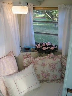 This is the Rose Vine Cottage Trailer interior.