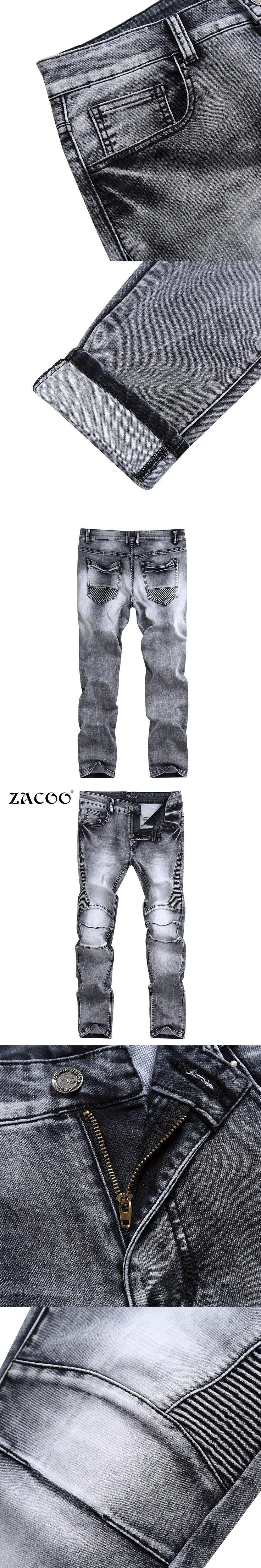 ZACOO Brand Jeans Men Back Pocket Fashion Brand Pants Jeans Male Casual Straight jeans Denim Cotton Grey jean mens vaqueros #mensjeansbrands