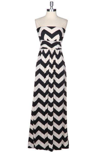 Black & White Chevron Maxi Dress