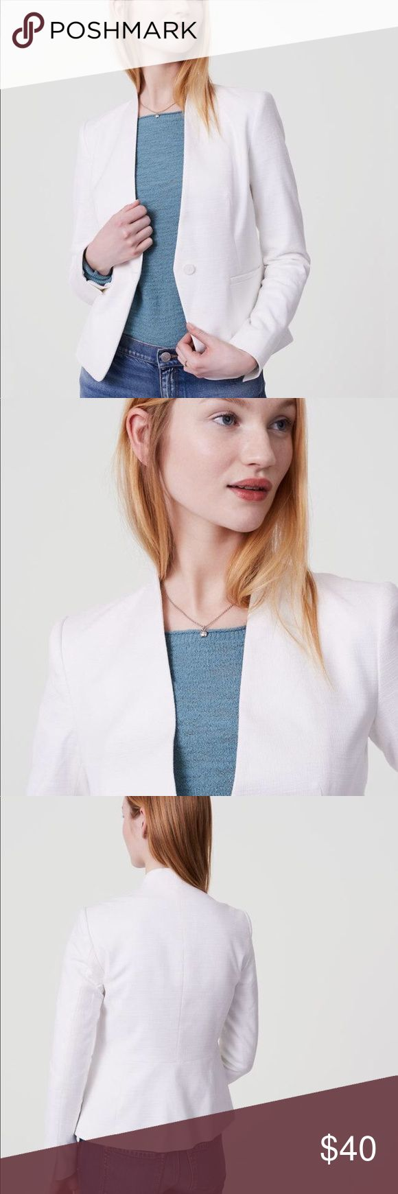 """LOFT Basketweave Collarless Blazer Only worn a few times. Good Condition. No rips, stains or tears. Has only been dry-cleaned. Moving soon so make me an offer!  Collarless, Lined Color: Moonlight Ivory One button front Front welt pockets Back peplum panel Approximate length for the Regular sizes: 23"""" LOFT Jackets & Coats Blazers"""