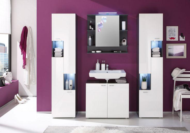 SAM® Bad Set 4tlg Badmöbel weiß mit LED TETIS