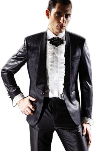 Black Satin Mens Button Tuxedo Suit Jacket Shirt Necktie Pants Noble