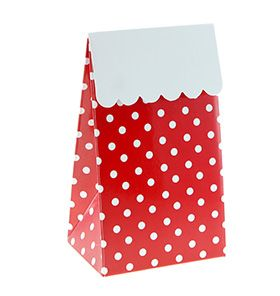12 Sambellina Polkadot Red Party Boxes - Included in our Standard $99.00 and Deluxe $159 packs - Strawberry-fizz.com.au