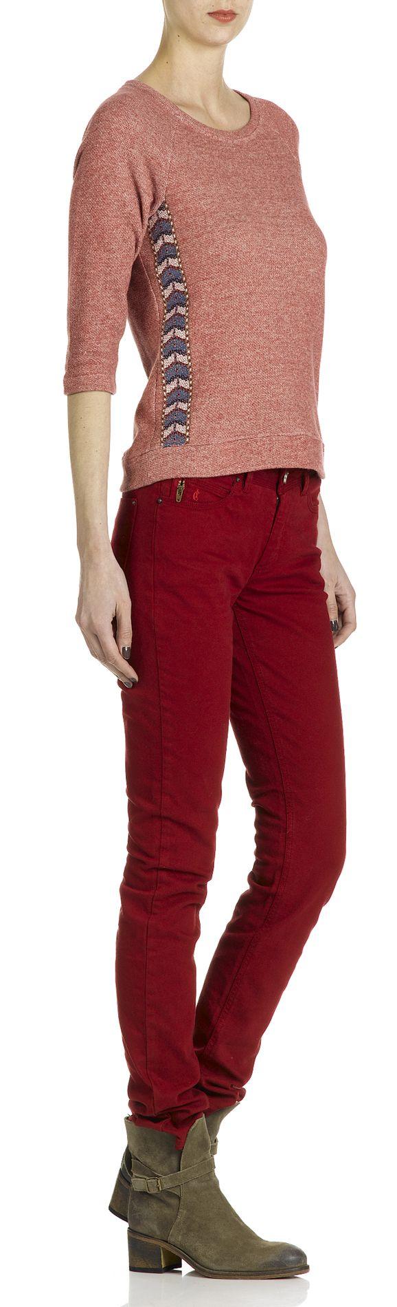 Sweat fantaisie Rouge I CODE BY IKKS FEMME - Boutique en ligne I CODE BY IKKS - Collection Automne Hiver 2013/2014 - Place des Tendances.