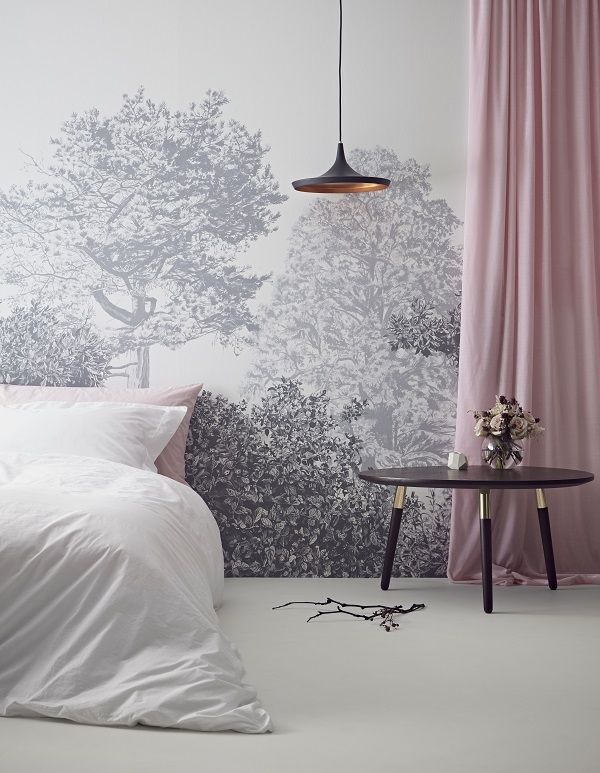 Hua trees wall murals in grey - Painted using Chinese inks in a non-traditional style