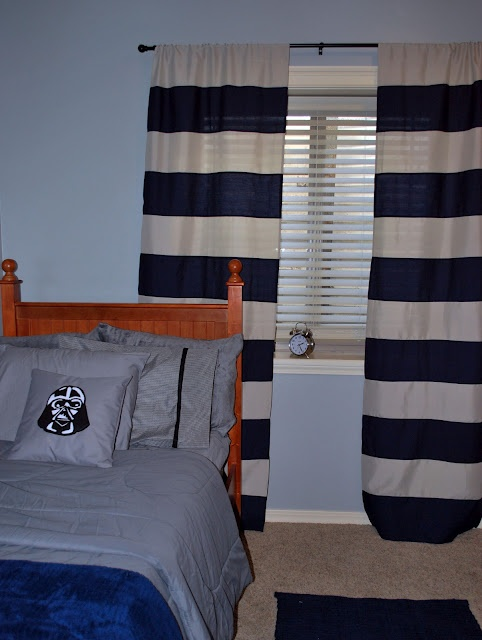 DIY Striped curtains from cheap walmart curtains and sheets.