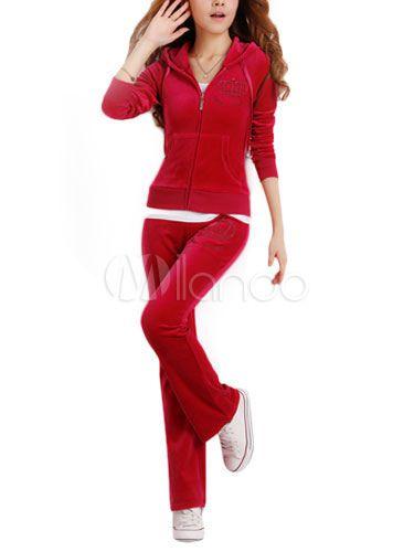 Casual velluto con cappuccio lungo maniche Activewear Set donna - Milanoo.com