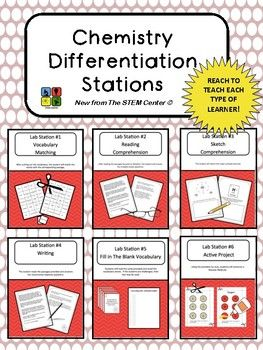 Chemistry Differentiation Stations consists of six different stations for students to learn about the topic. Students enjoy vocabulary matching game, a Reading passage, sketching center, constructed response center, fact cards, and a hands on activity!........................................................................................................How It Works:Station 1- Vocabulary matching game allows students to match key vocabulary terms with definitions.Station 2- This station…