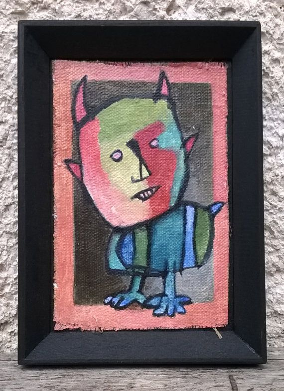 Miserable beast/ original surreal miniature oil by ZsofiVarga
