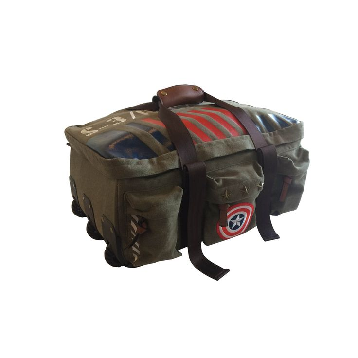 Marvel Captain America Military Vintage-Style Rolling Duffel Bag