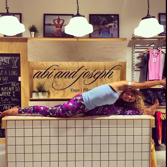 Amy having fun and showing us her Yoga pose in our abi and joseph store