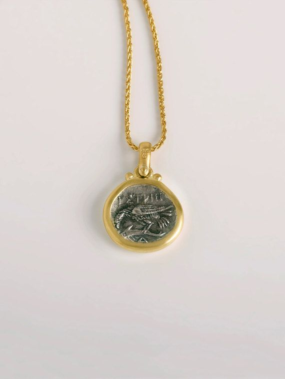 Istros silver drachm coin | authentic ancient greek coin mounted in 18k gold pendant | one of a kind limited edition #etsyfinds #etsy #etsyjewelry