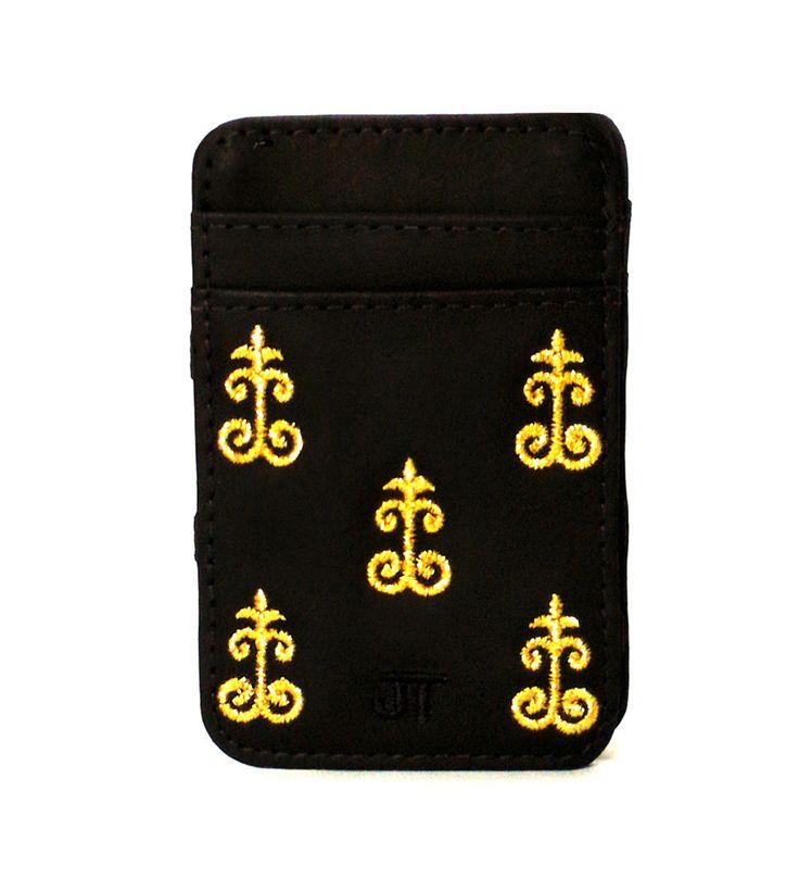 JT Magic Wallet Vintage 1 Color: Golden and Black #couro #bordado #fashion #accessories #moda #style #design #acessorios #leather #joicetanabe #carteira #carteiramagica #courolegitimo #wallet