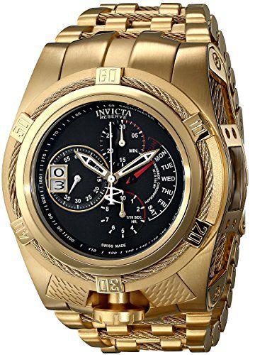 Invicta Mens 16956 Bolt Analog Display Swiss Quartz Gold Watch ** Click image for more details.