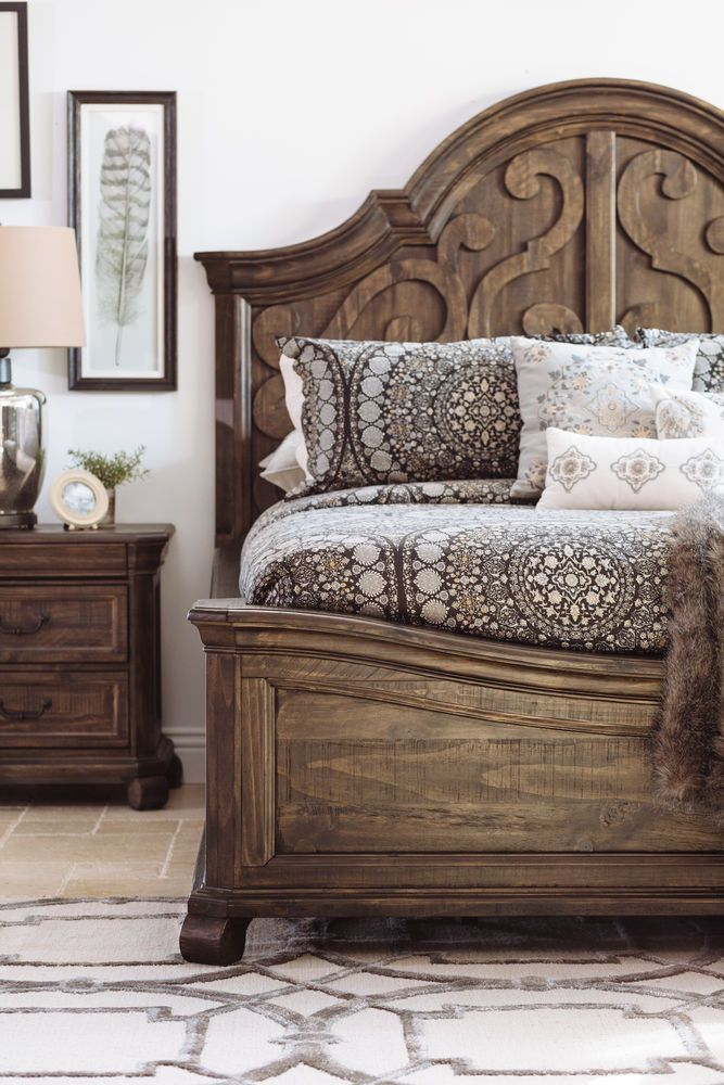 Contemporary Scroll Carved Arch Panel Bed In Peppercorn Unique